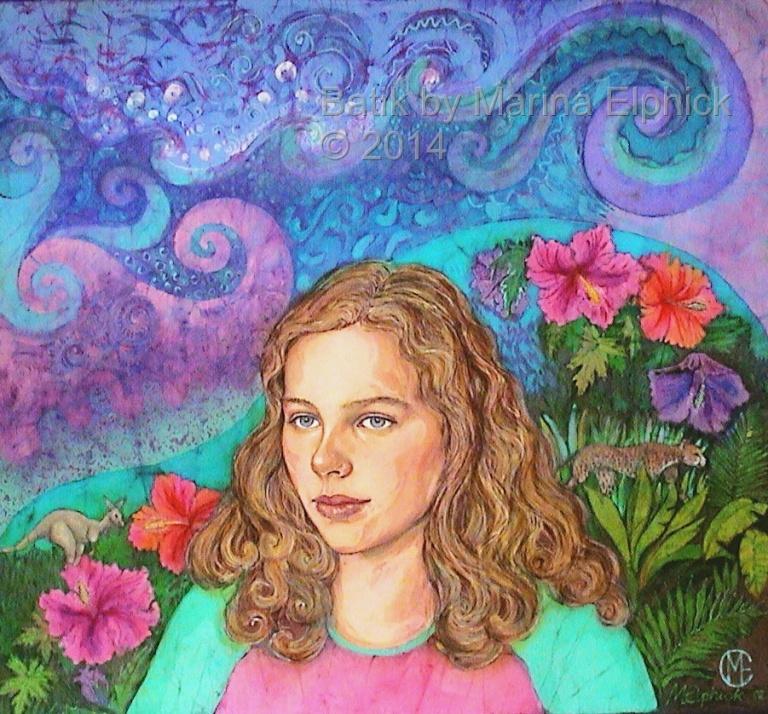 Batik portrait of Sophie, batik by British artist, Marina Elphick. Step by step batik portrait. Batik artist with a realistic technique making convincing portraits in batik.