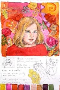 Watercolour sketch and colour notes for batik portrait of Nicola.