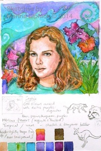 Watercolour sketch and colour notes for batik portrait of Sophie.