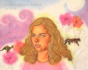 Batik step by step. Mid stage of batik, 5 waxings and 6 painted dyes on batik portrait of Sophie, by Marina Elphick UK batik artist.