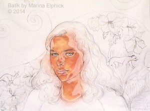 BAtik step by step. Early stage of batik portrait of Sophie, showing line drawing on cotton and first flesh coloured dye. By Batik artist Marina Elphick.