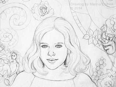 Batik step by step. Line drawing for Batik portrait of Nicola by Marina Elphick, batik artist and portrait painter.