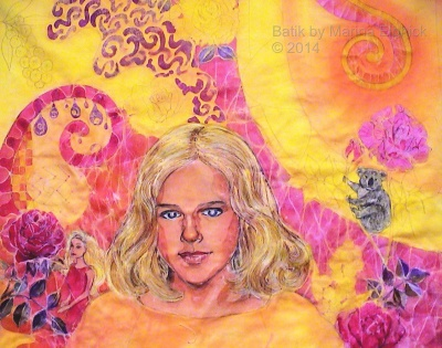 Step by step batik. Batik dyed in yellow dye, batik portrait of Nicola by Marina Elphick, batik artist and portrait painter.