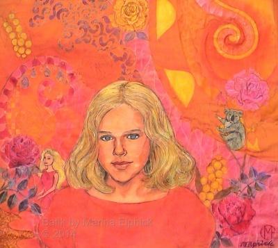 Batik step by step. Portrait dyed pale red, making orange on  batik portrait of Nicola by Marina Elphick, batik artist and portrait painter.
