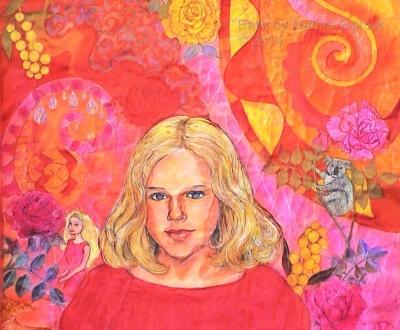 Batik step by step. Orange areas waxed and batik dyed red on batik portrait of Nicola, by Marina Elphick, batik artist and portrait painter.