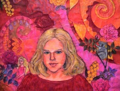 Batik step by step. Final dye and waxing on Batik portrait of Nicola, by Marina Elphick, batik artist and portrait painter.