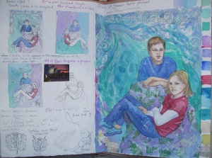 Watercolour sketches for life size double portrait.