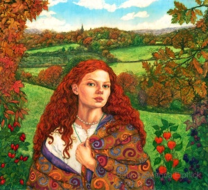 Portrait of Autumn. Batik by British artist Marina Elphick, UK Batik artist .  Portraiture in batik. Batik