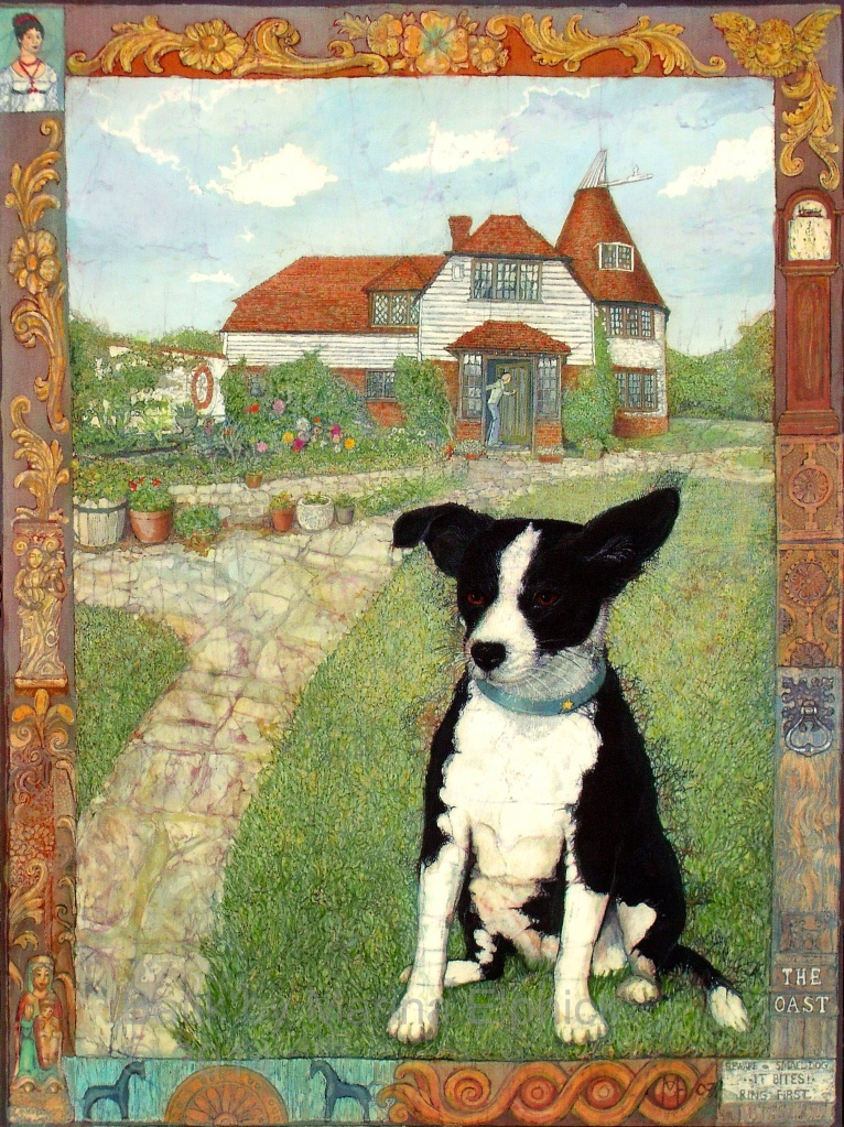 Batik portrait of Coco in her garden, by British artist Marina Elphick. Batik artist known for her life like portraits.