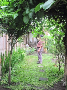 Bambang Darmo in his garden