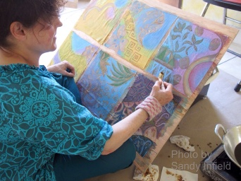 My first attempts using the nitik canting, batik artist Marina Elphick. Contemporary interpretations of Traditional batik motifs.
