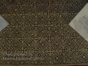 Complex Nitik design on display at the Danar Hadi Batik museum