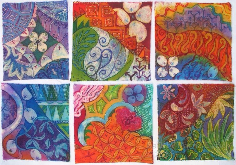 Completed Batik art sketches by Marina Elphick inspired by traditional Indonesian batik motifs. Batik artist. Batik.