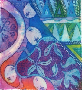 "Batik with reference to Nitik and a ""play"" on the Kawung  motif, by Marina Elphick, UK batik artist."