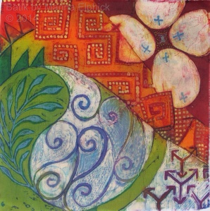Batik sketch inspired by traditional batik, by Marina Elphick, UK batik artist. Batik art.