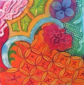 Batik design influenced by Perang, Kawung, Ceplok and using a little Nitik.  By Marina Elphick, UK batik artist.