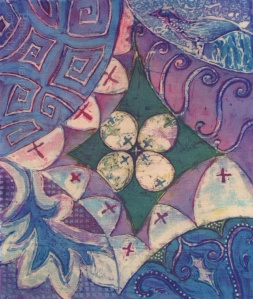 Kawung and other motif inspired designs in a batik sketch by Marina Elphick.