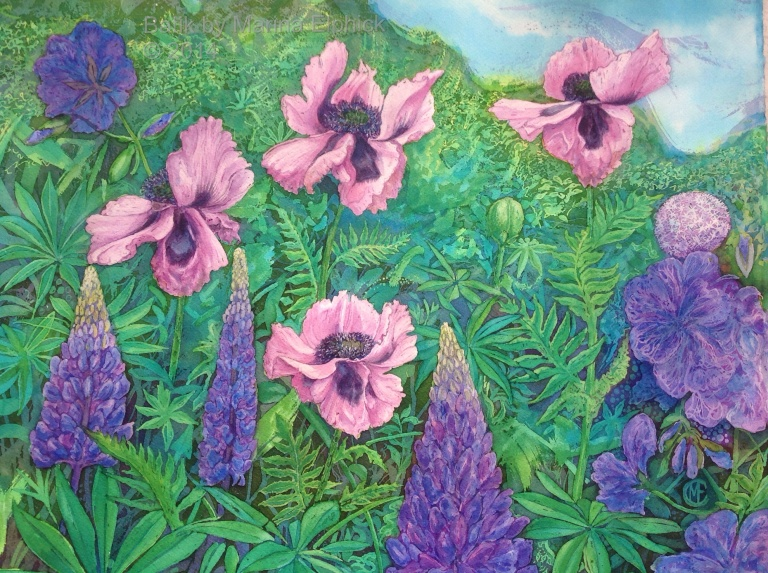 Lupins and Poppy flowers, batik art on paper by British artist Marina Elphick. Contemporary batik artist.