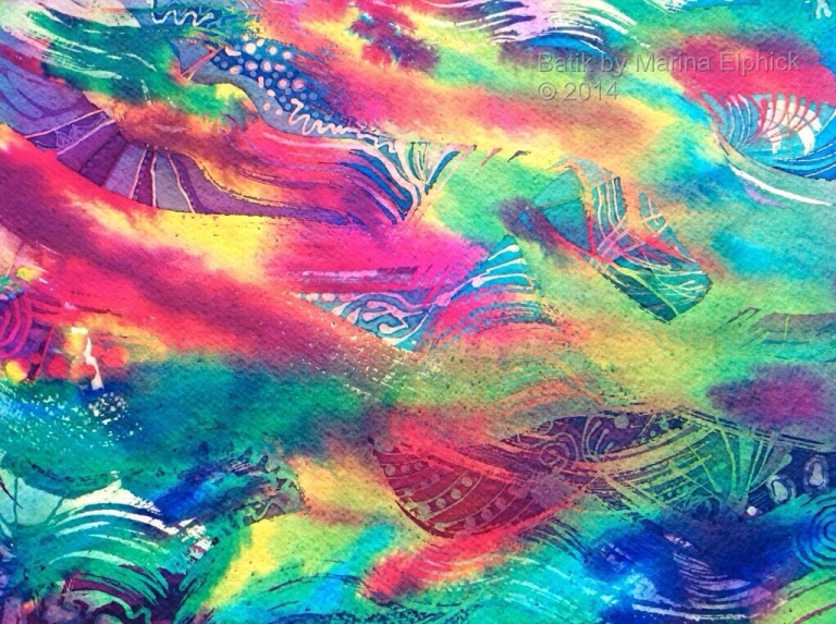 Carnival,  batik art on paper by Batik artist Marina Elphick.