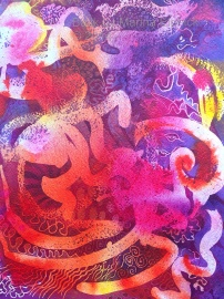 Transience, batik at on paper by UK artist Marina Elphick. Batik art