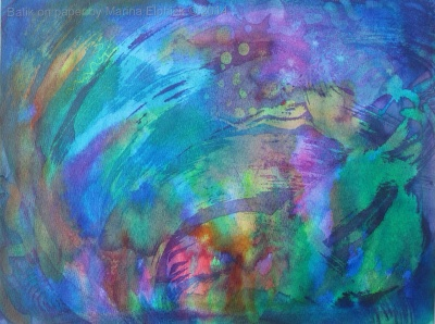 In the Lake, batik on paper by Marina Elphick.