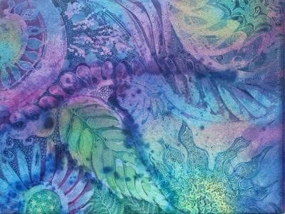 Fern, batik art on paper by UK artist Marina Elphick.