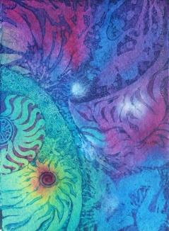 Meteor, batik art on paper by UK batik artist Marina Elphick.