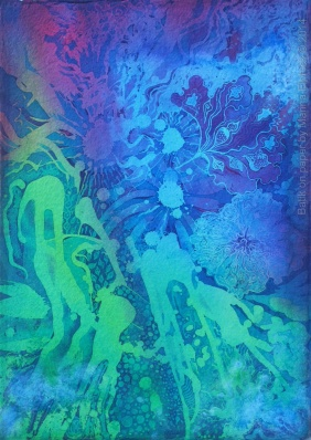 Pelagic, batik painting on paper by batik artist Marina Elphick.