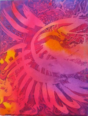 Sun dance, batik art on paper by UK batik artist Marina Elphick.