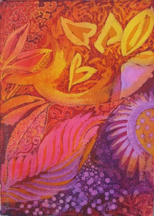 Leaf Fall,  batik art on paper by artist Marina Elphick