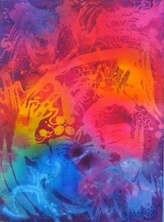 Protozoa, batik painting on paper by UK batik artist Marina Elphick.