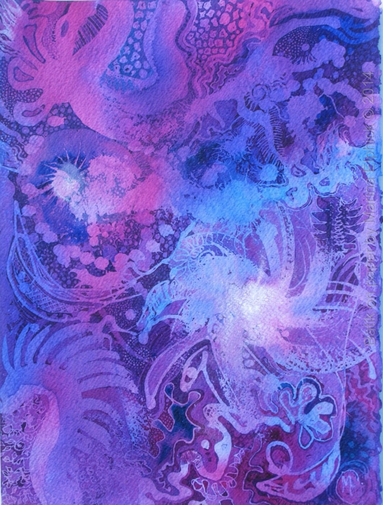 Nebula, batik art on paper by batik artist Marina Elphick.