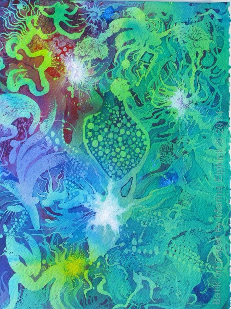Krill, batik art on paper by batik artist Marina Elphick.