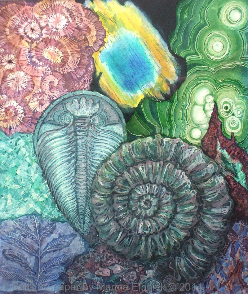 Labradorite and Malachite,  batik art on paper by Marina Elphick.