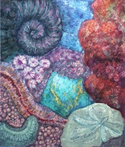 Hematite and Azurite, batik art on paper by Marina Elphick.