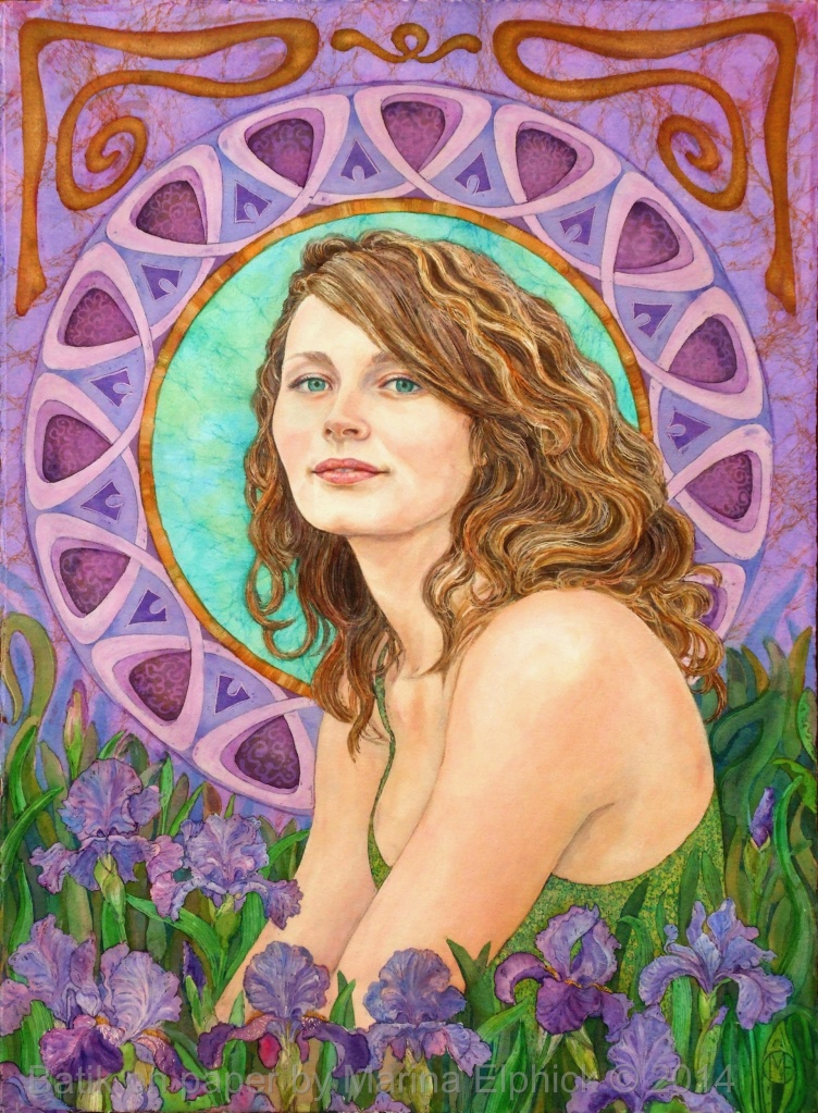 Portrait of Jodie with Iris flowers.  Batik on paper by British artist Marina Elphick.