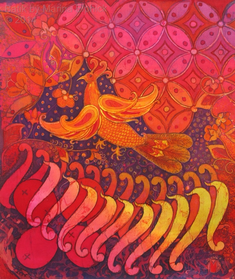 Firebird with Parang tongues of fire, batik on cotton by British batik artist Marina Elphick. Motifs Parang, Kuwang and Ceplok are used in this contemporary batik art work.