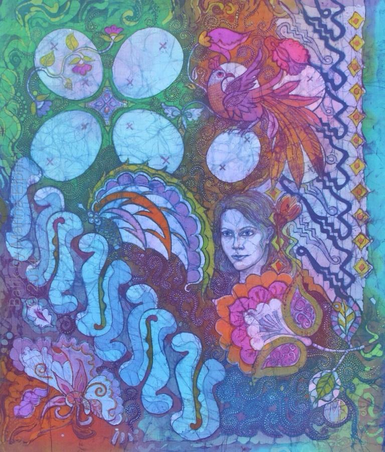 Blue portrait with Parang Curigo and Kuwang by UK batik artist Marina Elphick. Contemporary take on Traditional batik motifs. Batik artist known for her life like portraits.