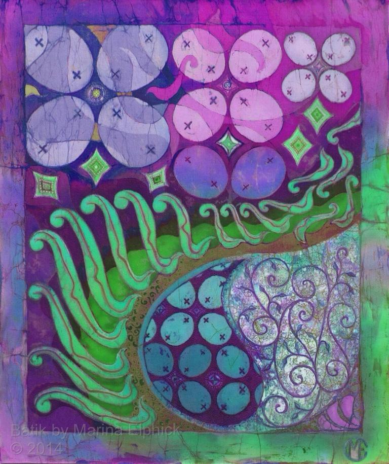 Green Parang batik by British artist Marina Elphick.