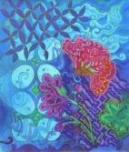 Butterfly on blue Parang by UK batik artist Marina Elphick.
