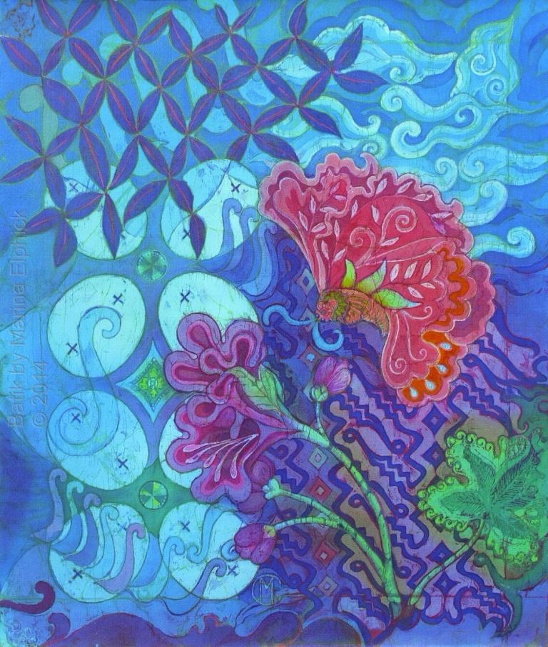 Butterfly on blue with Parang Curigo, Ceplok and Megamendung cloud motifs. Batik by British batik artist Marina Elphick. Batik art based on traditional batik motifs, interpreted in a contemporary way. Batik artist known for her life like portraits.