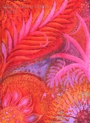 Fire flower, batik, batik art, by batik artist Marina Elphick. UK batik artist