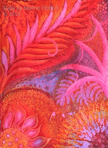 Fire flower, batik, batik art, by batik artist Marina Elphick. UK batik artist