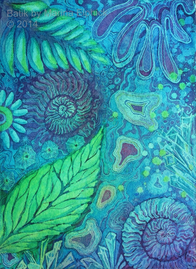 Batik art by UK artist Marina Elphick, batik Art, Batik artist, painter in batik