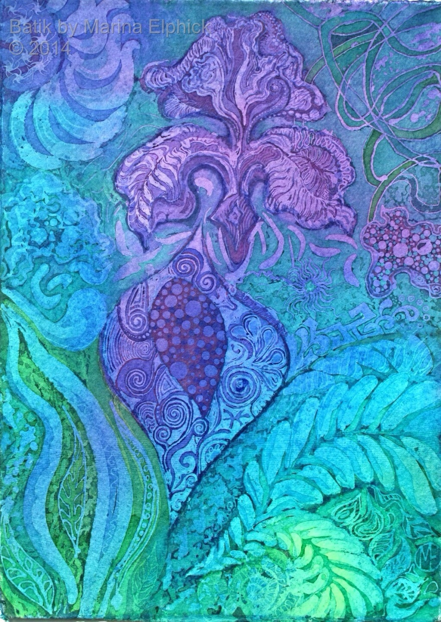 Secret Garden, batik by Marina Elphick, batik artist and painter. Batik art. Batik