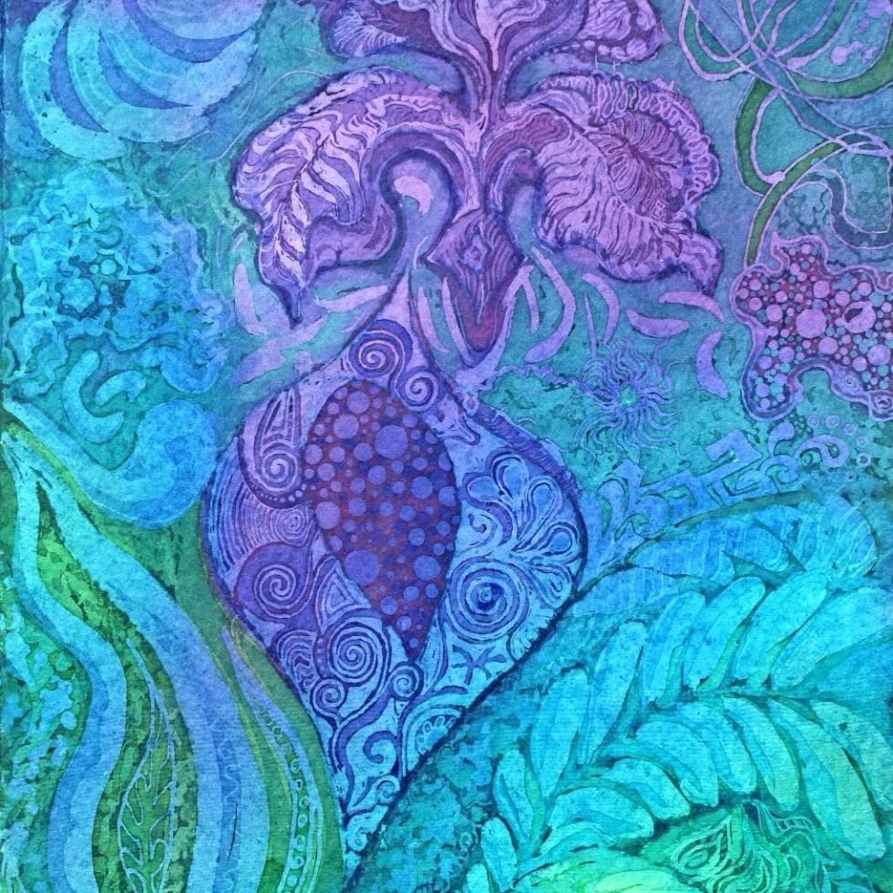 Secret Garden, batik by Marina Elphick, batik artist and painter. Batik art. Batik