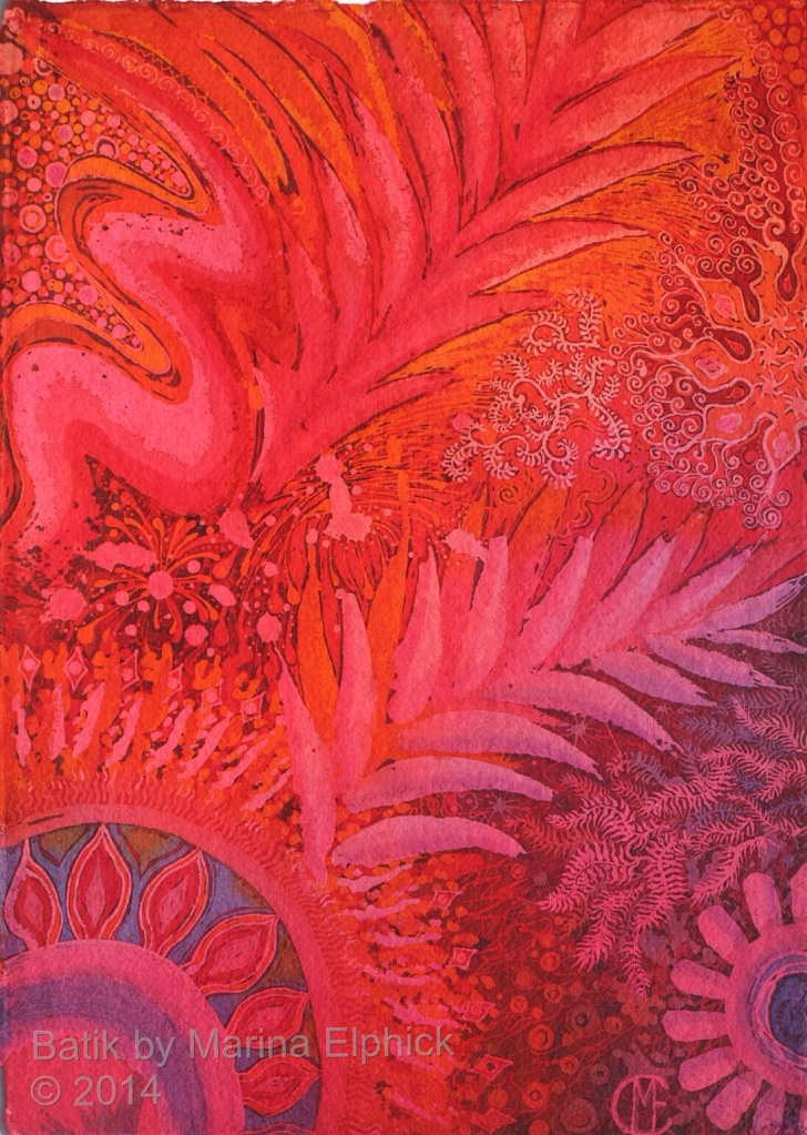 Bushfire, batik painting by batik artist Marina Elphick. Batik