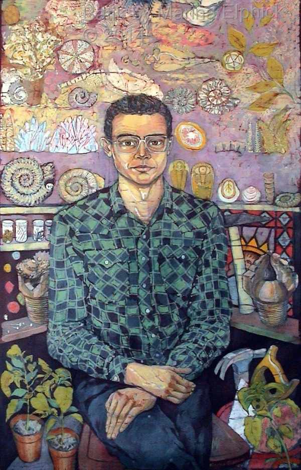 Batik portrait of Richard, soon after I met him in 1987. Portrait by batik artist Marina Elphick.