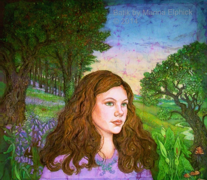 Batik art portrait of Amy in bluebell woodland setting, by UK batik artist Marina Elphick. Contemporary batik artist known for her exquisite portraits in this classic Indonesian art medium