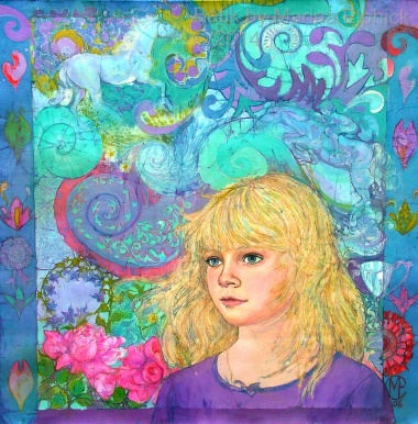Batik art.Batik portrait of Megan by British batik artist Marina Elphick who creates sensitive portraits of children.